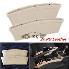 2x Beige PU Leather Seat Gap Slit Pocket Catch j Catcher Storage Organizer Box