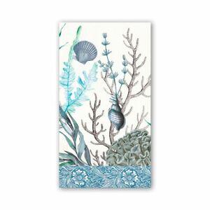 Michel Design Works 15 Triple-Ply Paper Hostess Napkins Ocean Tide Sea Life Blue