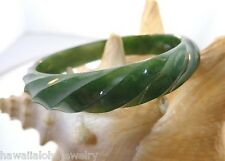 12.5MM CARVED PREMIUM PURE NATURAL CANADIAN NEPHRITE JADE DOMED TWIST BANGLE 7.5