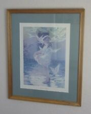 """Besse Pease Gutmann """"The Winged Aureole"""" Antique Lithograph Print / Child Doves"""