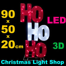 LED HO HOHO Red White Tinsel 3D Sign 90cm Indoor Outdoor Christmas Light Display
