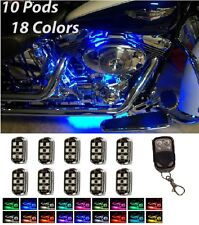 10PC PREMIER Motorcycle LED Pod MultiColor Changing Neon Underglow Lighting Kit