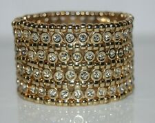 LARGE BOLD RUNWAY COUTURE GOLD TONED METAL & RHINESTONES STATEMENT CUFF BRACELET