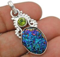 Natural Titanium Druzy 925 Solid Sterling Silver Pendant Jewelry ED12-5