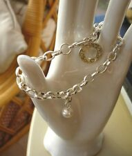 """New ladies cute chunky shiny silver tone chain bracelet 7"""" with clip on pearl"""