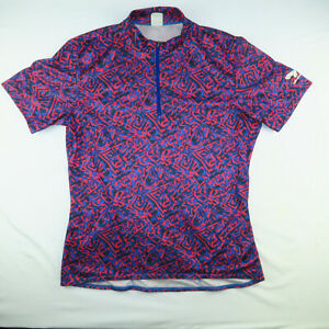 Bellwether Mens 1/4 Zip Cycling Jersey L Large Red Blue Abstract Pattern USA