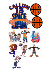 SPACE JAM PERSONALISED CAKE SET - PRECUT - A4 ICING SHEET OR WAFER CARD
