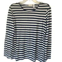 Chicos Womens Sweater White Navy Blue Stripe Long Sleeve Scoop Neck L/12 NWOTs
