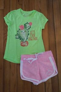 NWT/NWOT Justice Girls Outfit Cactus Top Size 7 - Shorts Size  6/7