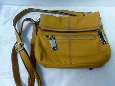 Tiganello Mustard Pebbled Leather Crossbody Organizer Shoulder bag Purse
