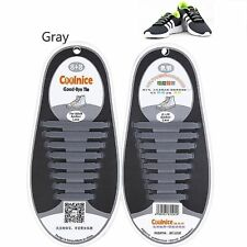 Gray No Tie Shoe Laces Silicone Easy Shoelaces For man Adults & Kids Trainers