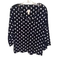 Chicos Womens Blouse Black Polka Dot 3/4 Sleeve Drawstring Stretch Top M/8