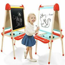 Wooden Art Easel For Kids, Childrens With Magnetic Chalkboard,Toddlers Paper