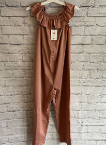 NEW W/ TAGS THE NINES BY HATCH ROSE RUFFLE SHOULDER JUMPSUIT MATERNITY BUTTON S
