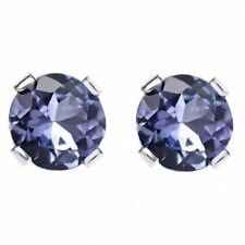 1.50 Ct Round Tanzanite Solid 14K White Gold Stud Earrings 5.5mm