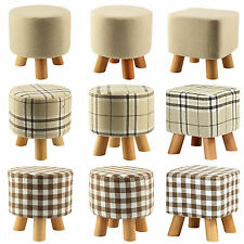Durable Wooden Leg Footstool Ottoman Round Pouffe 9 Different Styles Washable
