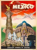Mexico  Vintage Illustrated Travel Poster Print  Framed Canvas