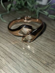 Robert Lee Morris SOHO Designer Rose Gold Crystal Hinged Bangle Bracelet