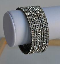 Lot 11 pcs hand prong set clear rhinestones stack bangle bracelet glitzy disco