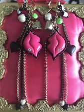 Betsey Johnson Vintage First Date Pink Lucite Marilyn Lips Mouth Pearl Earrings