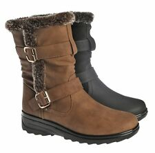 LADIES NEW MID CALF FUR WARM GRIP SOLE SNOW BOOTS WOMENS FASHION WINTER SHOES SZ