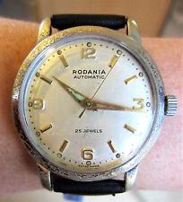Rare 1940s Gents Swiss SS Rodania 25J Automatic Watch F690 Bidynator Serviced