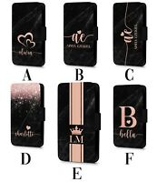 Personalised Leather Name Marble Printed Glitter Dark Faux Flip Phone Case Cover
