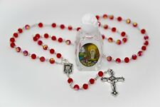 Bottle of Lourdes Holy Water & Ruby Crystal Rosary Beads - DIRECT FROM LOURDES