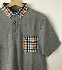 FRED PERRY GREY MULTI CHECK TRIM POLO SHIRT S mod casuals