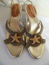 "Eric Javits Gold & Black Woven 3"" High Heel Sandal w/Starfish Size 11M"