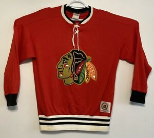 vtg Vintage 80s 90s CCM NHL Hockey Chicago Blackhawks Jersey Sweater Medium