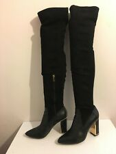 GENUINE LEATHER WOMENS LADIES KNEE HIGH BLACK SIZE 6 BOOTS SHOES HEELS  (WL