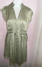 MINT VELVET 100% SILK OLIVE SAGE GREEN DRESS UK 14