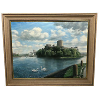 Fine Art Oil Painting Pembroke Castle Marine View Milford Haven Waterway Wales