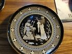Vintage 24 k gold decorative Hand Painted Black Plate From Greece