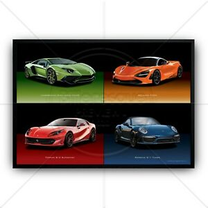 4 Supercars Poster - Super Cars - Racing Cars - Classic Cars print