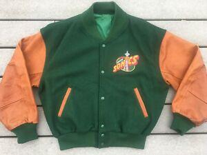 Vtg Seattle Supersonics JACKET wool leather letterman varsity Sonics jersey L