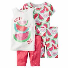 Carters Girl 4PC Watermelon Summer Tank Top Short Sleeve Shorts Pajama Set 4 4T