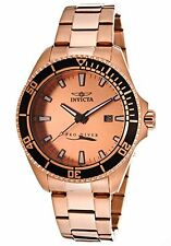 Invicta Mens Pro Diver Rose Tone 18K Gold Plated Steel Rose Tone Dial