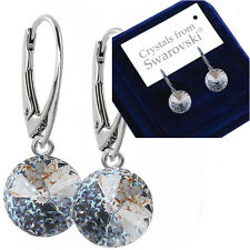 925 Sterling Silver Dangle Earrings White Patina 12 mm Crystals From Swarovski®