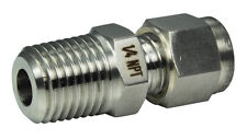 """Adjustable / Sliding Compression Fitting 1/4"""" NPT x 6MM - 316 Stainless Steel"""