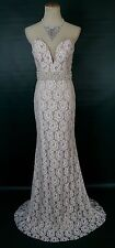 NEW $590 Jovani Lace Long Formal Prom Mermaid Pageant Size 4 Ivory NWT Bridal