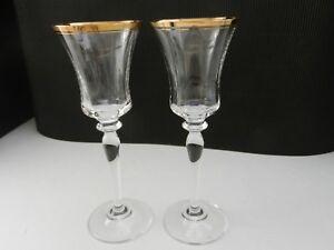"""Mikasa Crystal Jamestown 2 Wine Stems Clear Gold Trim 8 5/8"""" T ca 1987-2010"""