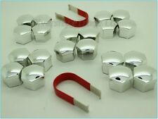 Universal Wheel Nut Covers Chrome 19mm Hex with Removal Tools Set of 20