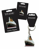 Titanic Enamel Keyring Lapel Pin and Fridge Magnet Gift Set of 3