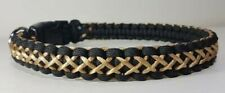 Black with Gold Thread Paracord Dog Collar - Handmade to Measure