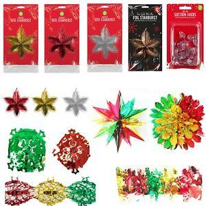 Christmas Hanging Decoration Foil Garland,Starburst,Ball Wall/Ceiling Xmas Decor