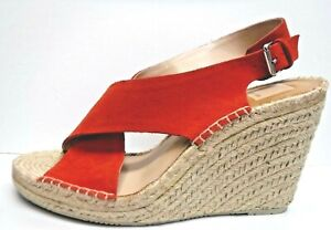 Dolce Vita Size 10 Orange Leather Wedge Heels Sandals New Womens Shoes