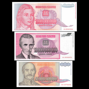 Yugoslavia 1, 10, 50 Billion Dinara 1993 Banknotes Hyperinflation Currency
