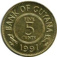 GUYANA 5 CENTS 1991 UNC #M10346EW